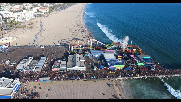 Santa Monica Beach Carnival by the Pier 2 Royalty Free Stock Drone Video Footage