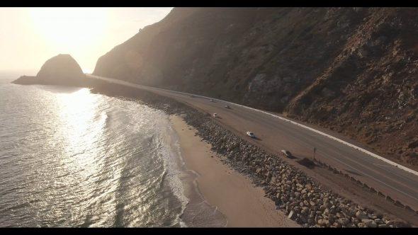 Malibu Coastal Road Drive 3 Royalty Free Stock Drone Video Footage