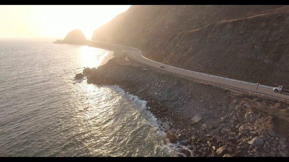 Malibu Coastal Road Drive 4 Royalty Free Stock Drone Video Footage