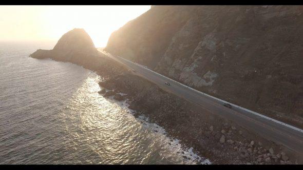 Malibu Coastal Road Drive 5 Royalty Free Stock Drone Video Footage