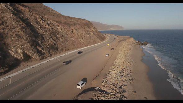 Malibu Coastal Road Drive 6 Royalty Free Stock Drone Video Footage