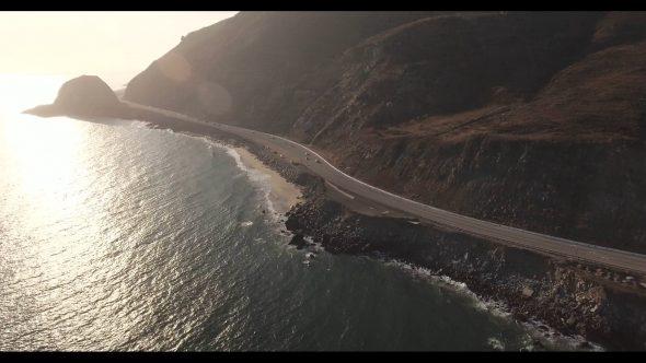 Malibu Coastal Road Drive 7 Royalty Free Stock Drone Video Footage