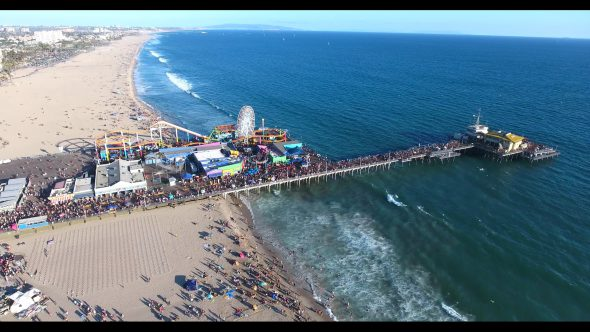 Santa Monica Beach Carnival by the Pier 3 Royalty Free Stock Drone Video Footage