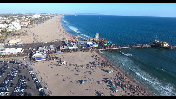 Santa Monica Beach Carnival by the Pier 4 Royalty Free Stock Drone Video Footage