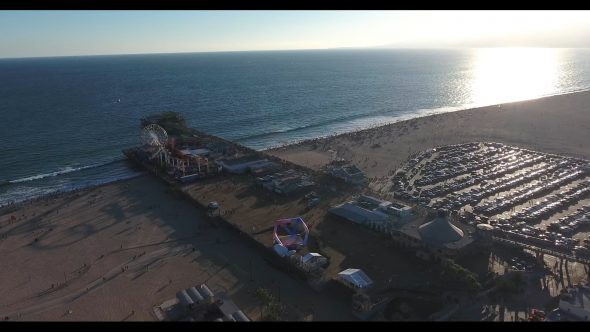 Santa Monica Beach Carnival by the Pier 5 Royalty Free Stock Drone Video Footage