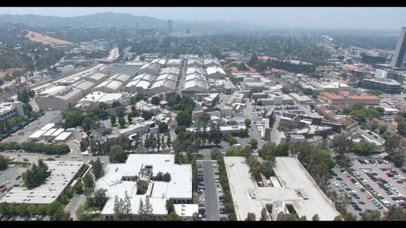 Warner Bros. Studios Slow Descent 1 Royalty Free Stock Drone Video Footage