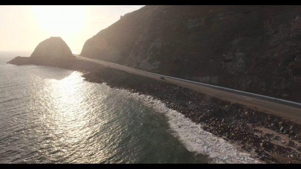 Malibu Coastal Road Drive 2 Royalty Free Stock Drone Video Footage
