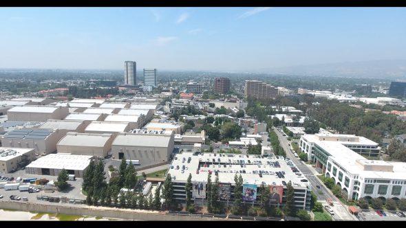 Warner Bros. Studio Buildings 2 Royalty Free Stock Drone Video Footage