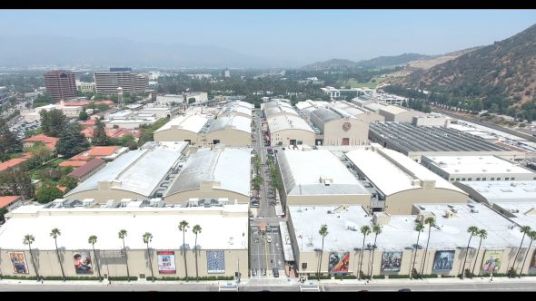 Warner Bros. Studio Parking Lot and Stage Buildings Royalty Free Stock Drone Video Footage