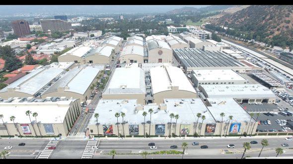 Warner Bros. Studio Stage Buildings 1 Royalty Free Stock Drone Video Footage