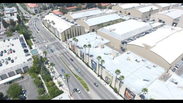Warner Bros. Studio Stage Buildings 2 Royalty Free Stock Drone Video Footage