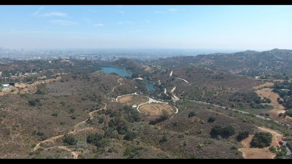 Lake Hollywood Reservoir Descent Royalty Free Stock Drone Video Footage