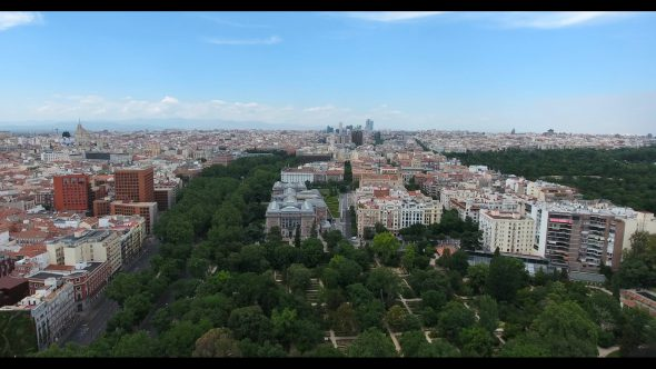 Madrid Spain Cityscape at Daytime 1 Royalty Free Stock Drone Video Footage