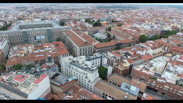 Madrid Spain Cityscape at Daytime 2 Royalty Free Stock Drone Video Footage