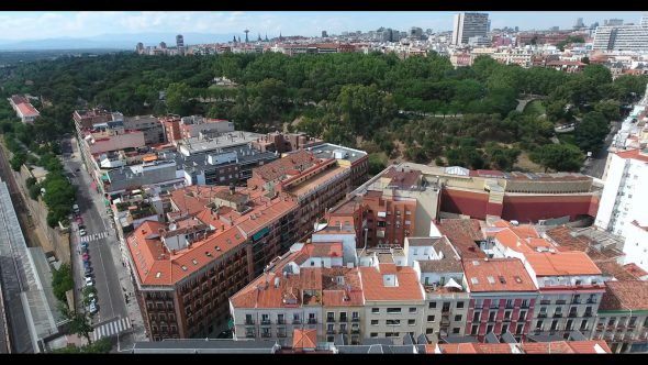 Madrid Spain Cityscape at Daytime 3 Royalty Free Stock Drone Video Footage