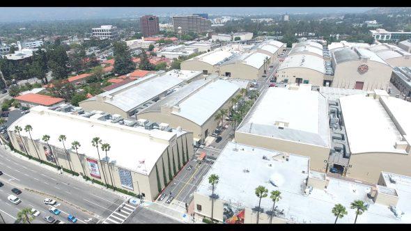 Warner Bros. Studio Stage Buildings 3 Royalty Free Stock Drone Video Footage