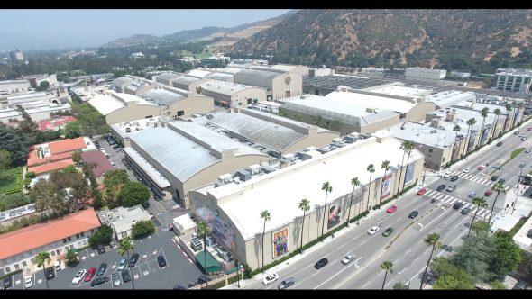 Warner Bros. Studio Stage Buildings 4 Royalty Free Stock Drone Video Footage