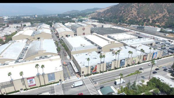 Warner Bros. Studio Stage Buildings 5 Royalty Free Stock Drone Video Footage