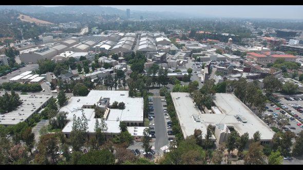 Warner Bros. Studios Slow Descent 2 Royalty Free Stock Drone Video Footage