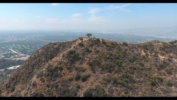 Overlooking Warner Bros. Studios in Burbank California Forward 2 Royalty Free Stock Drone Video Footage