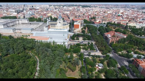 Royal Palace of Madrid 5 Royalty Free Stock Drone Video Footage