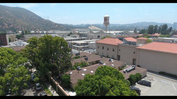 Warner Bros. Studios WB Tank 1 Royalty Free Stock Drone Video Footage