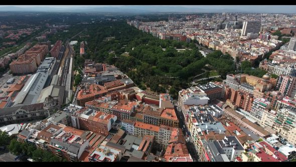 Madrid Spain Cityscape at Daytime 5 Royalty Free Stock Drone Video Footage