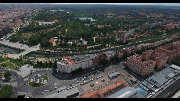 Puerta de San Vicente and The Rio de Menzanares in Madrid Spain Royalty Free Stock Drone Video Footage