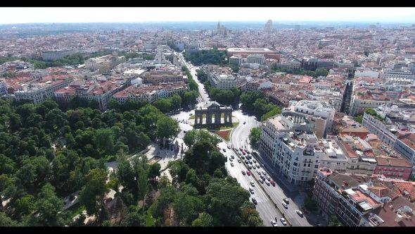 Puerta de San Vicente in Madrid Spain 1 Royalty Free Stock Drone Video Footage
