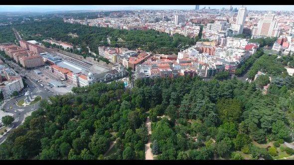Royal Palace Garden of Madrid Royalty Free Stock Drone Video Footage