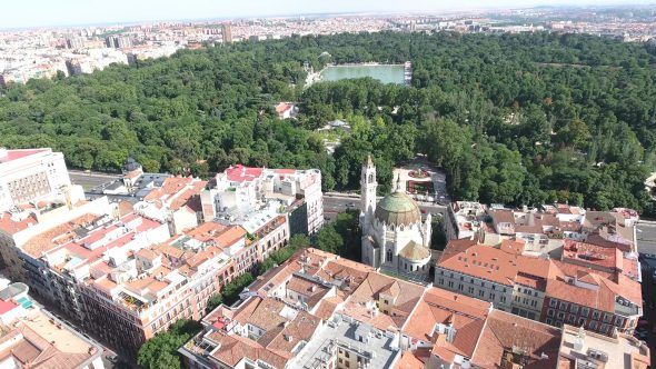 Buen Retiro Park and Lake in Madrid Spain 1 Royalty Free Stock Drone Video Footage