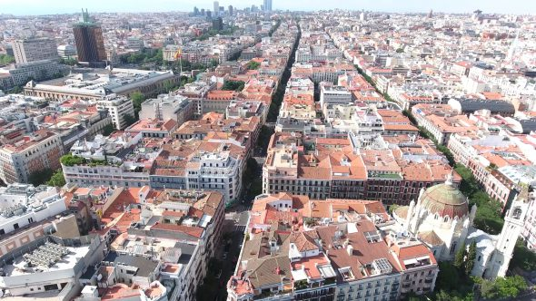 Madrid Spain Cityscape at Daytime 4 Royalty Free Stock Drone Video Footage