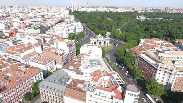 Puerta de San Vicente in Madrid Spain 2 Royalty Free Stock Drone Video Footage