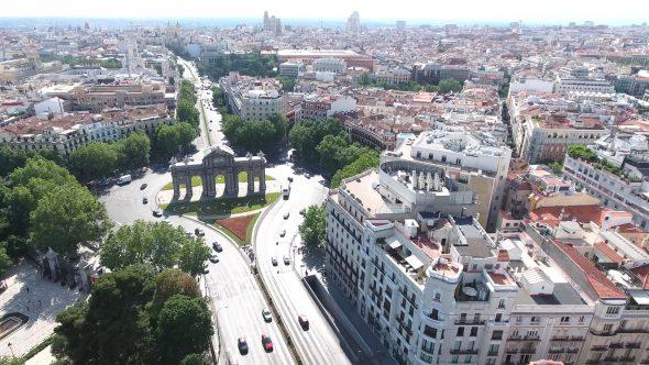 Puerta de San Vicente in Madrid Spain 3 Royalty Free Stock Drone Video Footage