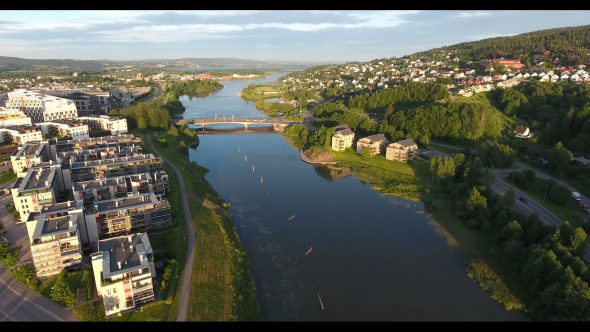 Setting Sun View of a River in Oslo Norway 4 Royalty Free Stock Drone Video Footage
