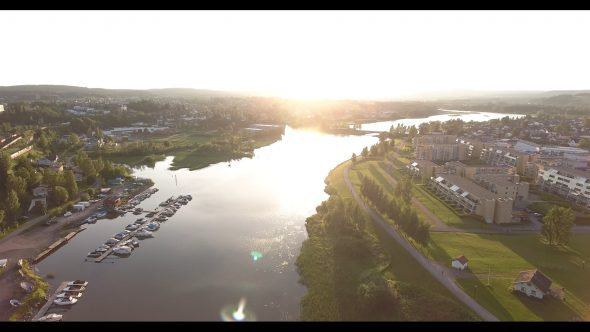 Setting Sun View of a River in Oslo Norway 3 Royalty Free Stock Drone Video Footage