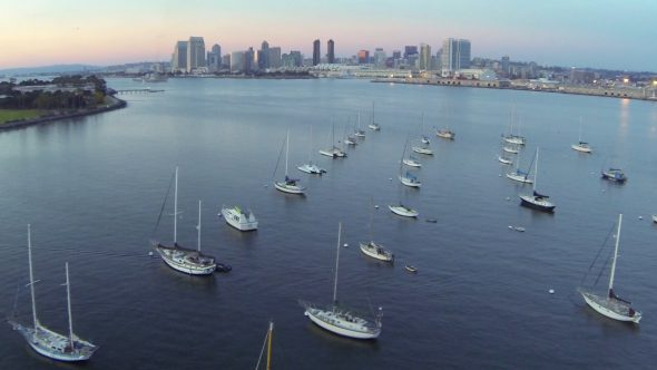Sailboats in San Diego Bay and Coronado Island Sunset