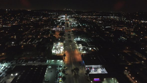 City Night Lights and Empty Streets 4 Royalty Free Stock Drone Video Footage