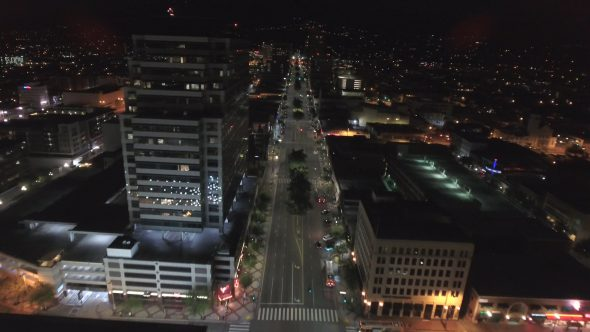 City Night Lights and Empty Streets 5 Royalty Free Stock Drone Video Footage