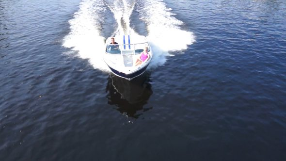 Boat Chase Royalty Free Stock Drone Video Footage
