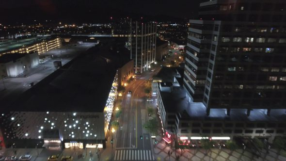 City Night Lights and Empty Streets 3 Royalty Free Stock Drone Video Footage