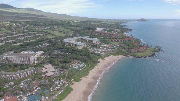 Maui Wailea Beach Resort 1 Royalty Free Stock Drone Video Footage