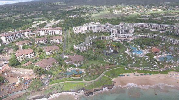 Maui Wailea Beach Resort 4 Royalty Free Stock Drone Video Footage