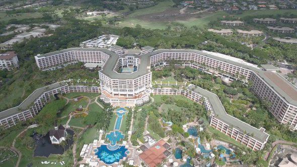 Maui Wailea Beach Resort 6 Royalty Free Stock Drone Video Footage