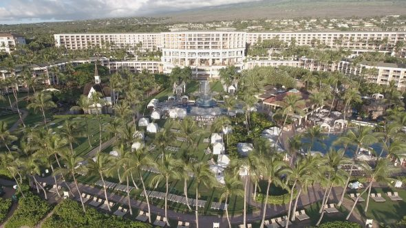 Maui Wailea Beach Resort 11 Royalty Free Stock Drone Video Footage