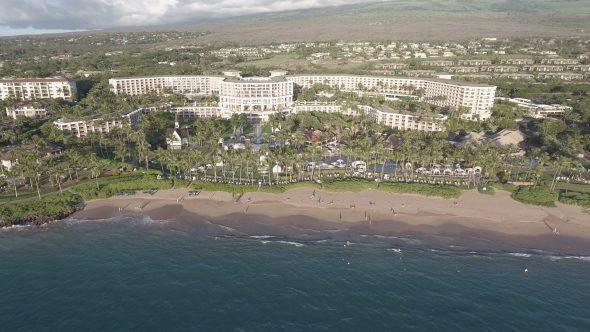 Maui Wailea Beach Resort 12 Royalty Free Stock Drone Video Footage