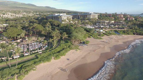 Maui Wailea Beach Resort 9 Royalty Free Stock Drone Video Footage