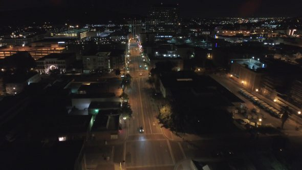 City Night Lights and Empty Streets 2 Royalty Free Stock Drone Video Footage