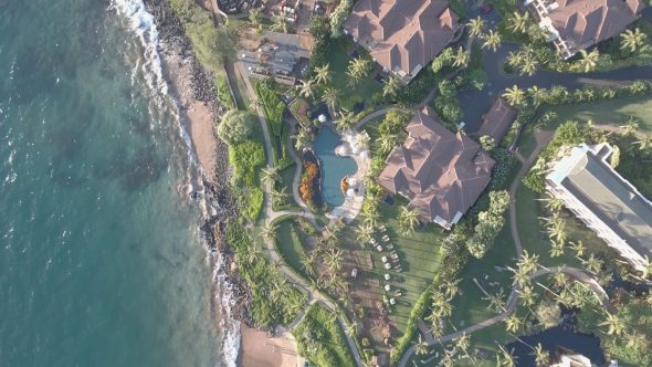Maui Wailea Beach Resort 15 Royalty Free Stock Drone Video Footage