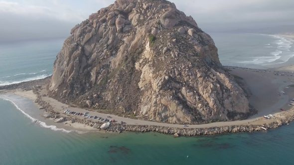 Panoramic View of the Great Morro Rock Royalty Free Stock Drone Video Footage